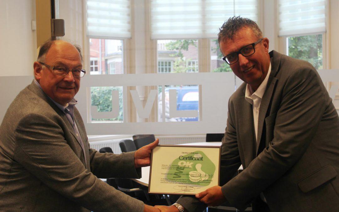 JVL Administraties VvE Beheer te Haarlem ontvangen VvE Beheerders OK Certificaat